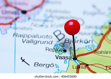 Vaasa pinned on a map of Finland