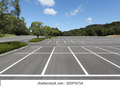 Vacant parking lot, parking lane outdoor in public park