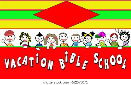 Vacation Bible School graphic with text area available for advertising.