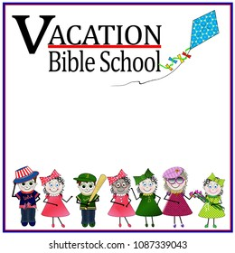 Vacation Bible School square image with children at bottom and kite flying in image.