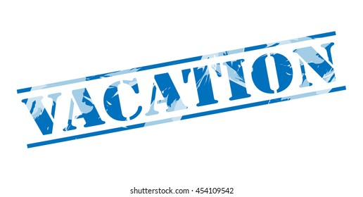 vacation blue stamp on white background