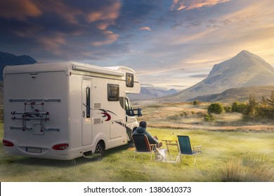 Vacation with an caravan in natural landscape.
