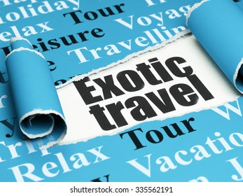Vacation concept: black text Exotic Travel under the curled piece of Blue torn paper with  Tag Cloud