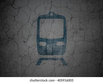 Vacation concept: Blue Train on grunge textured concrete wall background