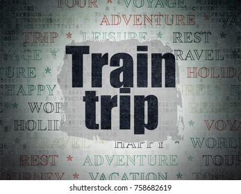 Vacation concept: Painted black text Train Trip on Digital Data Paper background with   Tag Cloud