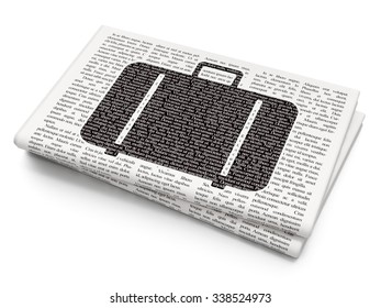 Vacation concept: Pixelated black Bag icon on Newspaper background