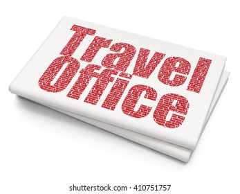 Vacation concept: Pixelated red text Travel Office on Blank Newspaper background, 3D rendering