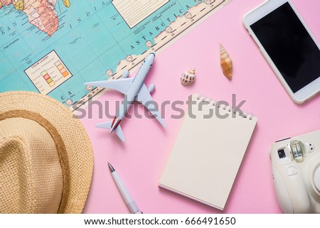 Vacation concept. Planning items for vacation trip.