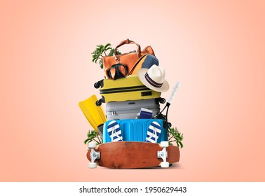 Vacation concept, suitcases and travel bags with hat and tourist accessories