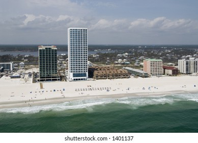 vacation condos on coastline from the air