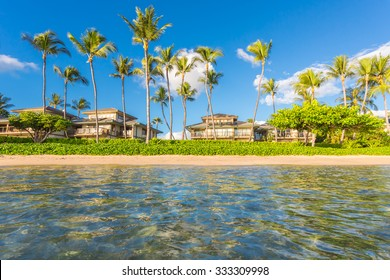 Vacation cottages on the beach with palms, Maui, Hawaii.