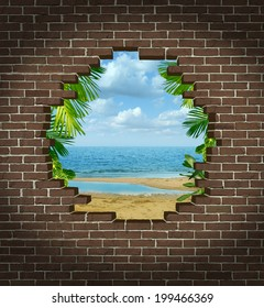 Vacation escape concept and getting away symbol as a broken brick wall revealing a tropical beach resort tourist attraction as an icon for escaping the city to a warm paradise destination.