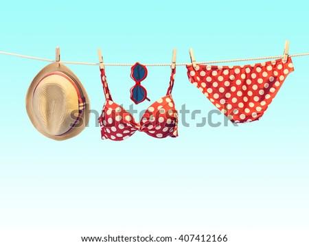 b6cbc4f719 Summer woman clothes accessories stylish set. Summertime fashionable  swimsuit bikini coral