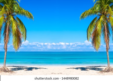 Vacation holidays background wallpaper. Palms and tropical beach in Varadero, Cuba.