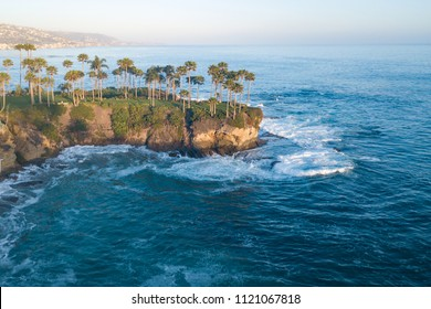 Vacation on the beach of California. Sunset and backlight. Ocean View. Aerial view of Shaws Cove, Laguna Beach, California, USA.