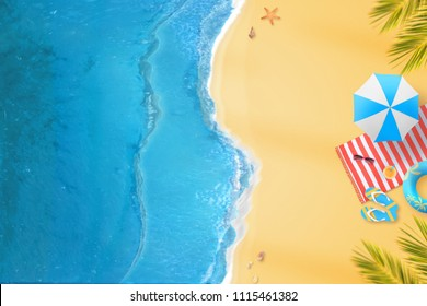 Vacation on the beach. View from above to sea and sand with a clean space for text.