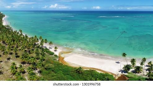 Vacation on deserted beach in Brazil. São Miguel dos Milagres, Alagoas. Fantastic landscape. Gret beach scene.