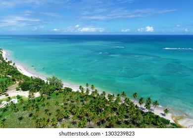 Vacation on deserted beach in Brazil. São Miguel dos Milagres, Alagoas, Brazil. Riacho's and Lage's beaches. Fantastic landscape. Great beach scene. Paradise beach. Brazillian Caribbean.