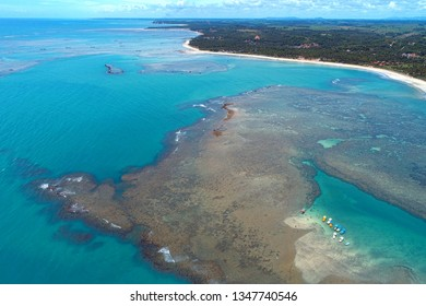 Vacation on deserted beach with natural pools of in Brazil. São Miguel dos Milagres, Alagoas, Brazil. Fantastic landscape. Great beach scenery. Paradise beach. Brazillian Caribbean.