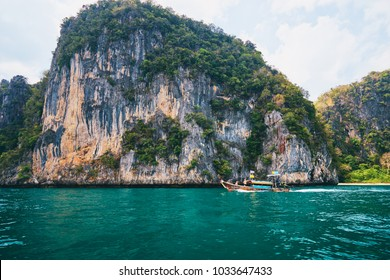 Vacation on island. Beautiful landscape with sea, boat and rocks.