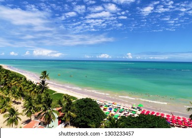 Vacation on paradise beach in Brazil. São Miguel dos Milagres, Alagoas, Brazil. Fantastic landscape. Great beach scene. Paradise beach. Brazillian Caribbean. Miracle Route.