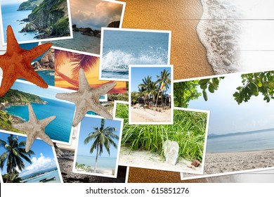 Vacation photos scattered on a wooden table. Top view and Flat lie.