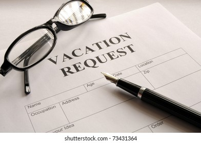 vacation request form in business office showing holiday concept
