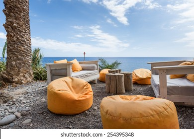 Vacation resort with comfortable seats near the sea at Madeira Island, Portugal