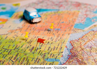 vacation road trip on car. Map with points