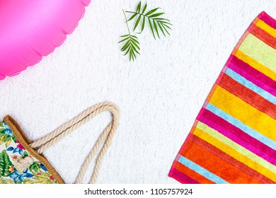 Vacation style postcard concept with blank copy space text and summer beach accessories