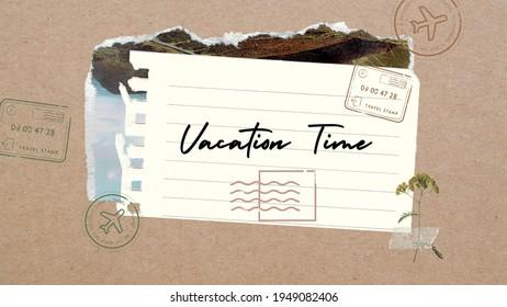 Urlaubszeit Wort in Papierschwarz