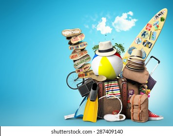 Vacation and travel, a huge pile of things for the holiday - Shutterstock ID 287409140