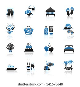 Vacation, Travel & Recreation, icons set. Tourism, Sport with reflection. Vector version (eps) also available in gallery