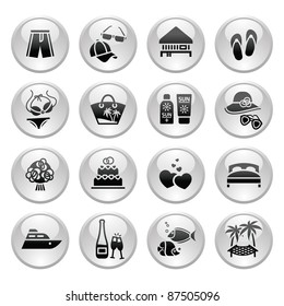 Vacation, Travel & Recreation, icons set. Tourism, Sport with reflection. Bitmap copy my vector ID 85299607