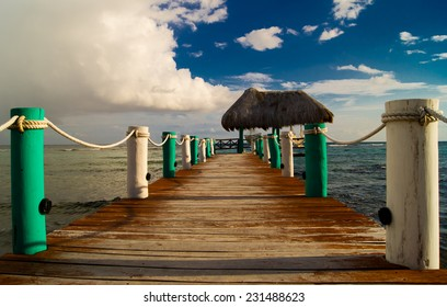 Vacation in tropic, wooden pier