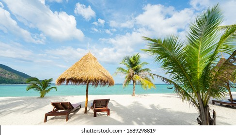 Vacation in tropical countries. Beach chairs, umbrella and palms on the beach. Banner edition.