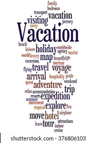 Vacation word cloud concept on white background.