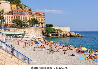 Vacationers enjoy the beautiful weather on Castel Beach - Nice, France, 9 July 2013