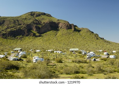 Vacationing in a recreational vehicle at Picacho Peak.