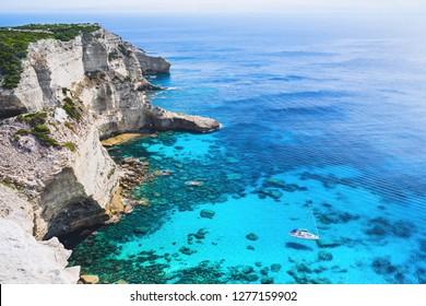 Vacations in France. Beautiful bay near the Bonifacio town, Corsica island