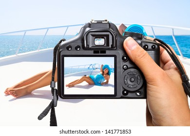 Vacations on the yacht cruise with camera
