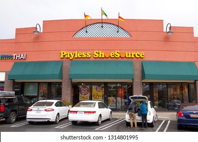 Vacaville, CA - February 16, 2019: Payless Shoe Source Inc is an American discount footwear retailer headquartered in Topeka, Kansas, whose U.S. locations are soon to be defunct according to USA Today