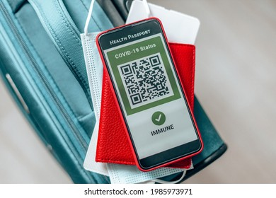 Vaccination, disease immunity passport on screen smartphone, digital vaccination certificate for COVID-19.