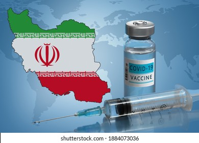 Vaccination in Iran. Coronavirus COVID-19 vaccine vial, syringe and map of Iran on World map background. 2d illustration.