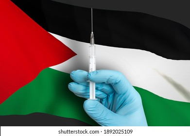 Vaccination in Palestine. Vaccine to protect against Covid-19 on background of national flag.
