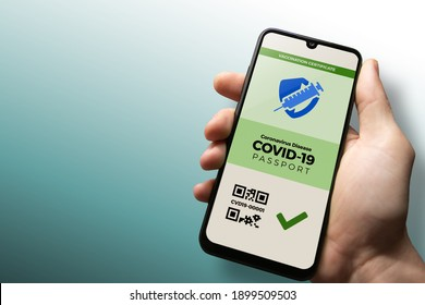 Vaccination passport for COVID-19 displayed on smartphone held in male's hand with copy space. Vaccination, disease immunity passport, health and surveillance concepts