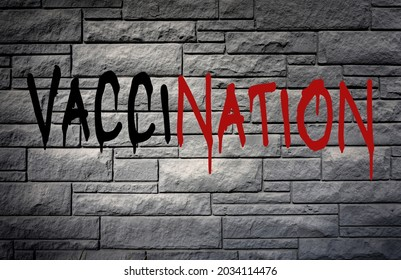 Vaccination protest painted on wall