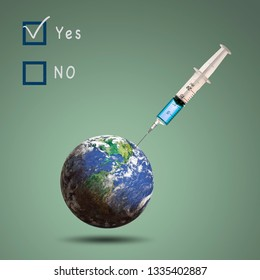 Vaccination, Syringe  inject vaccine into the earth, concept of vaccination save human, green background