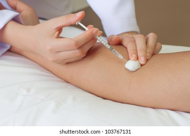 vaccine injection in forearm