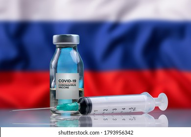 Vaccine and syringe injection. For prevention, immunization and treatment from corona virus infection (novel coronavirus disease 2019, Covid-19). Russia Flag background.
